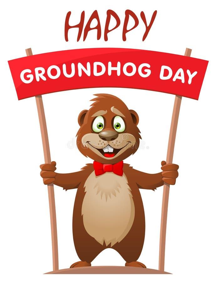 Hapy Groundhog dzień Śmieszny kreskówka świstak trzyma sztandar ilustracja wektor