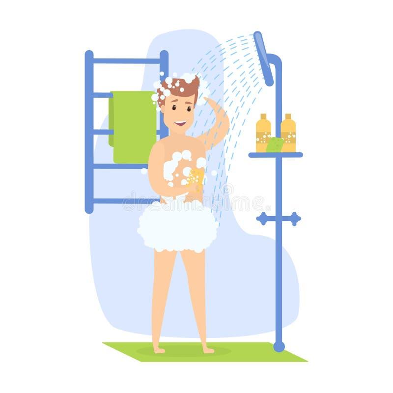 Hapy mężczyzna bierze prysznic royalty ilustracja