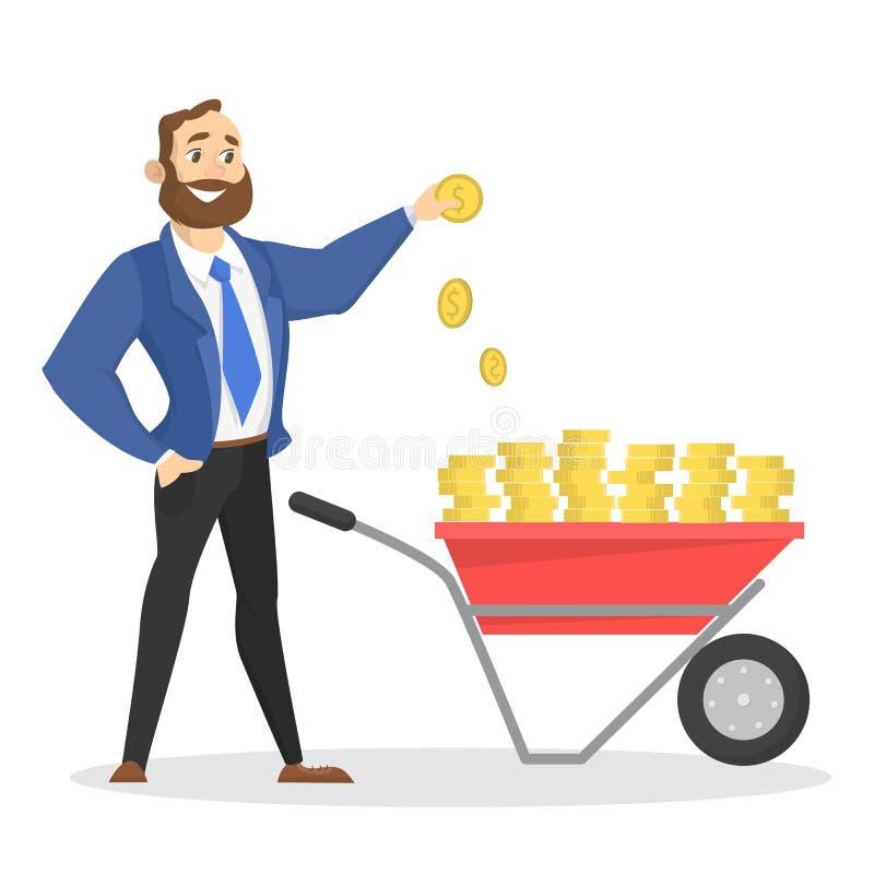 Hapyyzakenman die zich met kruiwagenhoogtepunt bevinden van contant geld vector illustratie