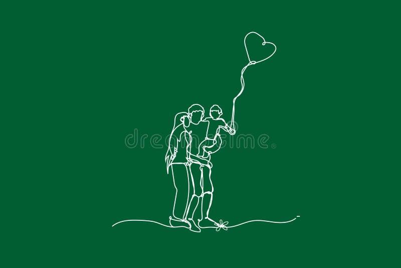 Har den lyckliga familjen för illustrationen gyckel med den fortlöpande vita linjen teckningsstil, drar den vita linjen av barn s vektor illustrationer