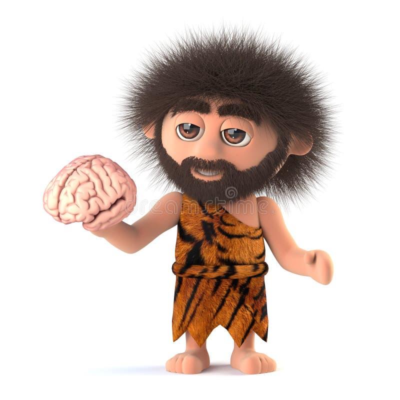 har den roliga grottmänniskan 3d en hjärna stock illustrationer