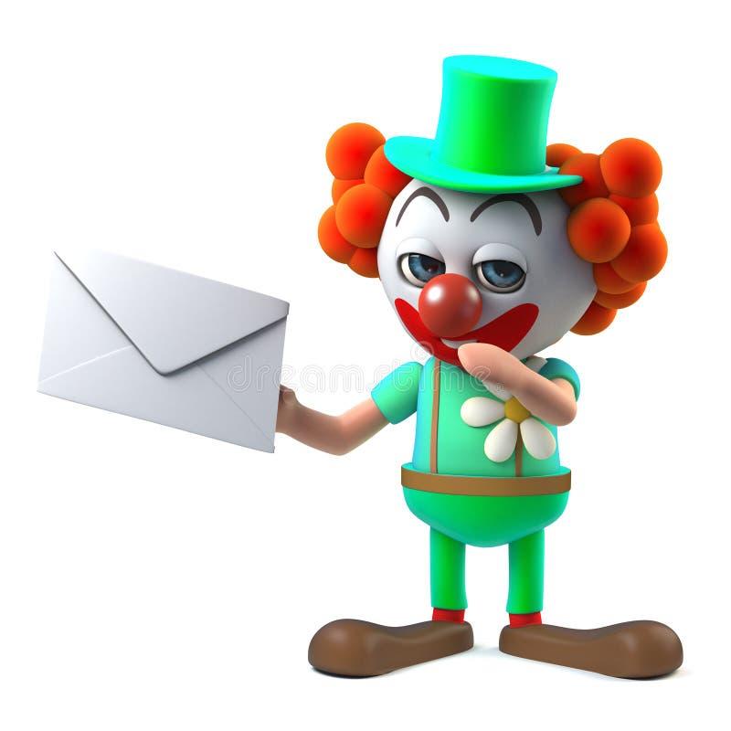 har det roliga clownteckenet för tecknade filmen 3d post i form av ett kuvert royaltyfri illustrationer