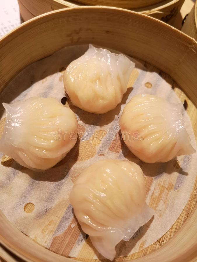Har gow. Singapore dim sum Har gow with prawns and meat stock photos