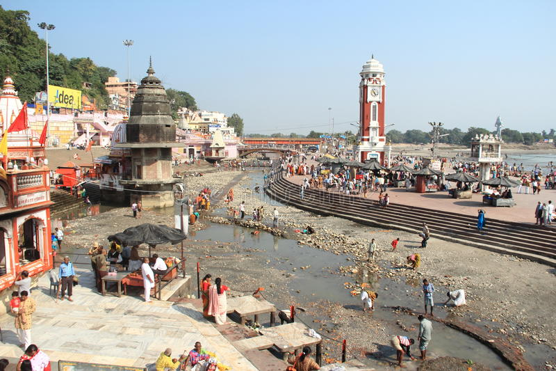 Har Ki Pauri Ghat (haridwar). Har Ki Pauri is a famous ghat on the banks of the Ganges in Haridwar in Uttarakhand state in India stock image