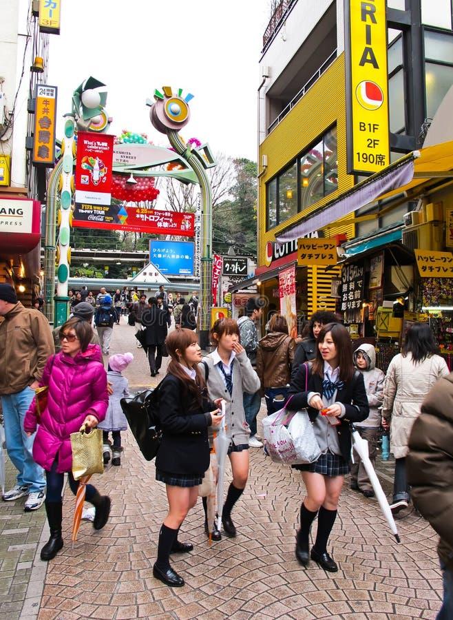 harajuku购物街道takeshita东京 库存照片