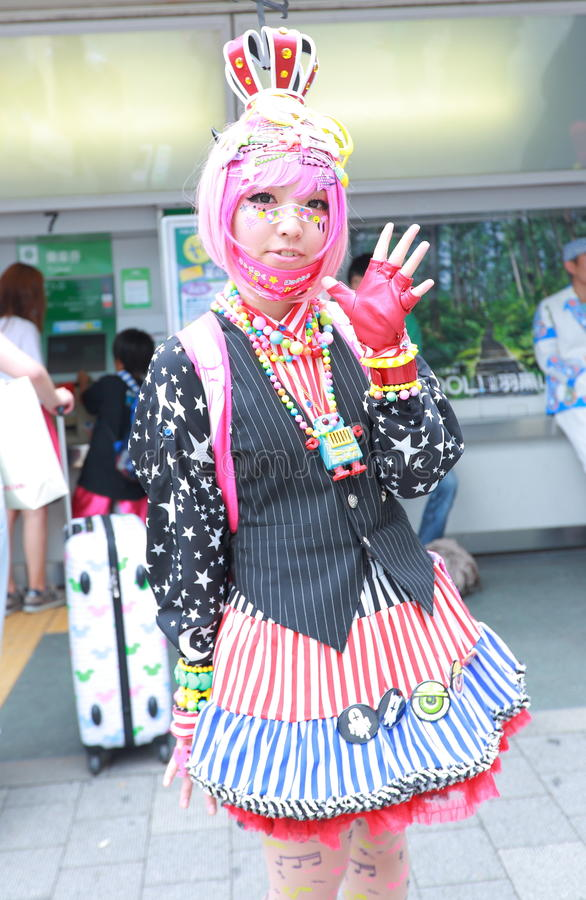 Harajuku fashion. Every Sunday each week, teens and young adults meet in Harajuku to show off a variety of clothing styles in Tokyo, Japan. Also known as royalty free stock images