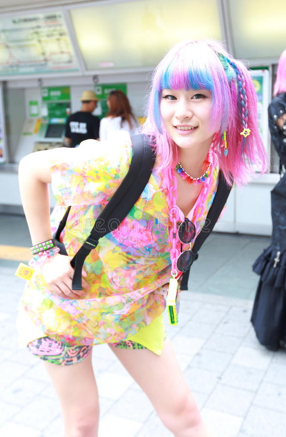 Harajuku fashion. Every Sunday each week, teens and young adults meet in Harajuku to show off a variety of clothing styles in Tokyo, Japan. Also known as royalty free stock photography