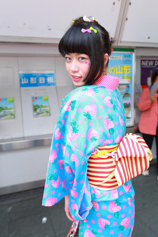 Harajuku fashion. Every Sunday each week, teens and young adults meet in Harajuku to show off a variety of clothing styles in Tokyo, Japan. Also known as royalty free stock image