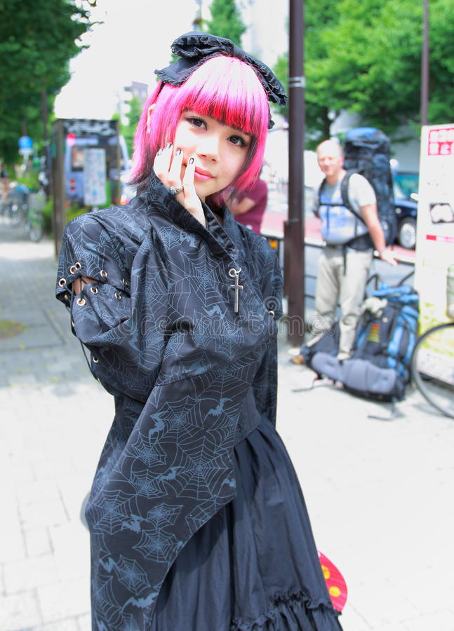 Harajuku fashion. Every Sunday each week, teens and young adults meet in Harajuku to show off a variety of clothing styles in Tokyo, Japan. Also known as royalty free stock photo
