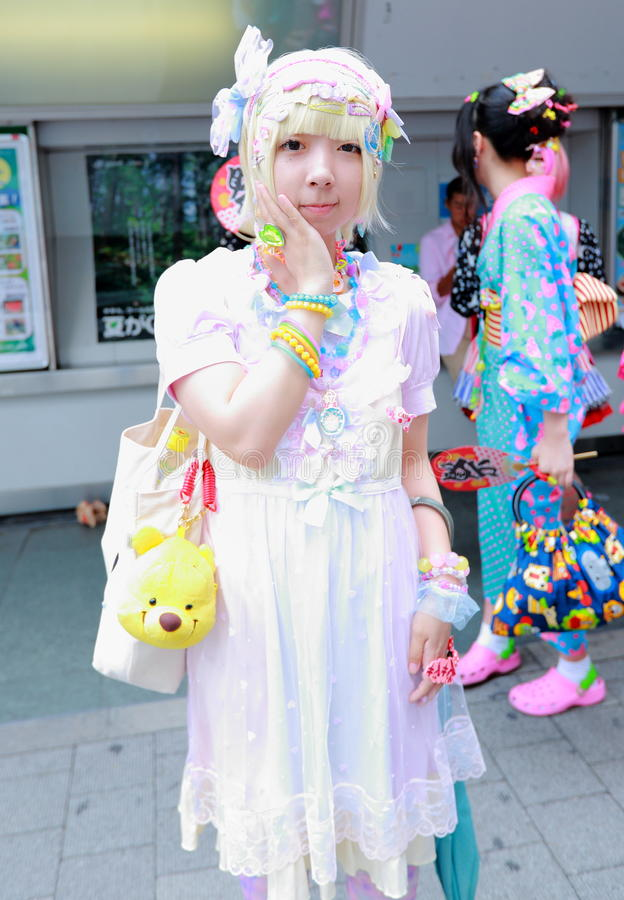 Harajuku fashion. Every Sunday each week, teens and young adults meet in Harajuku to show off a variety of clothing styles in Tokyo, Japan. Also known as stock photography