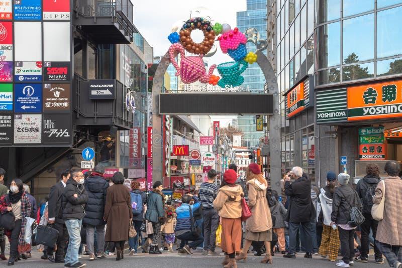 Harajuku, Tokyo, Japan - 21 December 2018: De mening van de Harajukustraat royalty-vrije stock foto