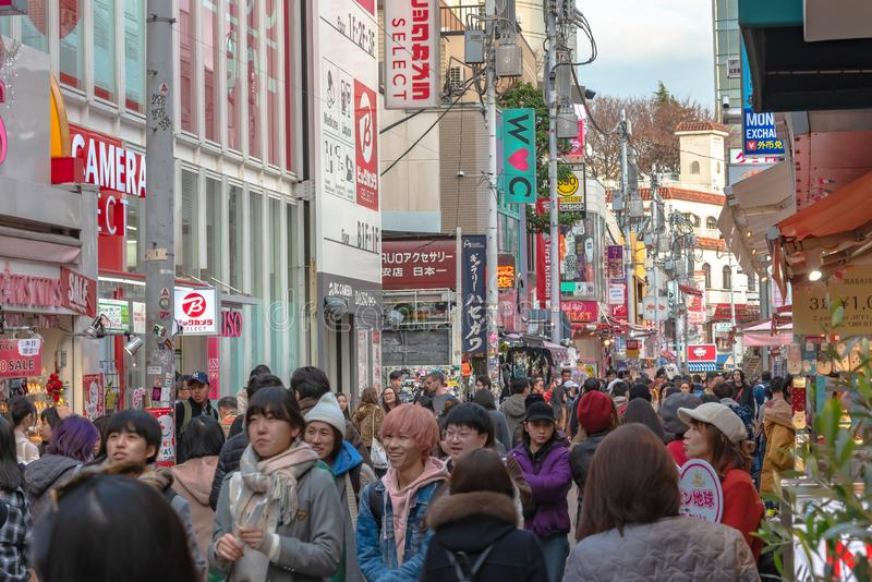 Harajuku, Tokyo, Japan - 21 December 2018: De mening van de Harajukustraat royalty-vrije stock afbeeldingen