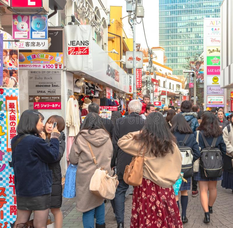 Harajuku, Tokyo, Japan - 21 December 2018: De mening van de Harajukustraat royalty-vrije stock afbeelding