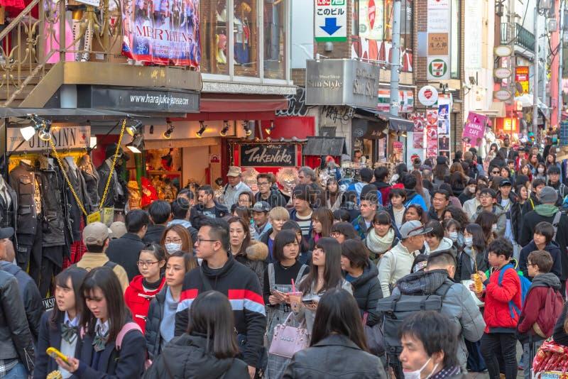 Harajuku, Tokyo, Japan - 21 December 2018: De mening van de Harajukustraat stock fotografie