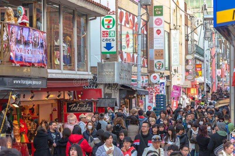 Harajuku, Tokyo, Japan - 21 December 2018: De mening van de Harajukustraat stock afbeeldingen
