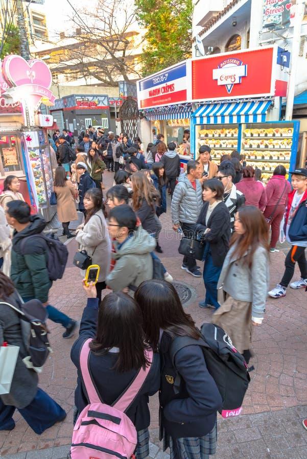 Harajuku, Tokyo, Japan - 21 December 2018: De mening van de Harajukustraat stock afbeelding