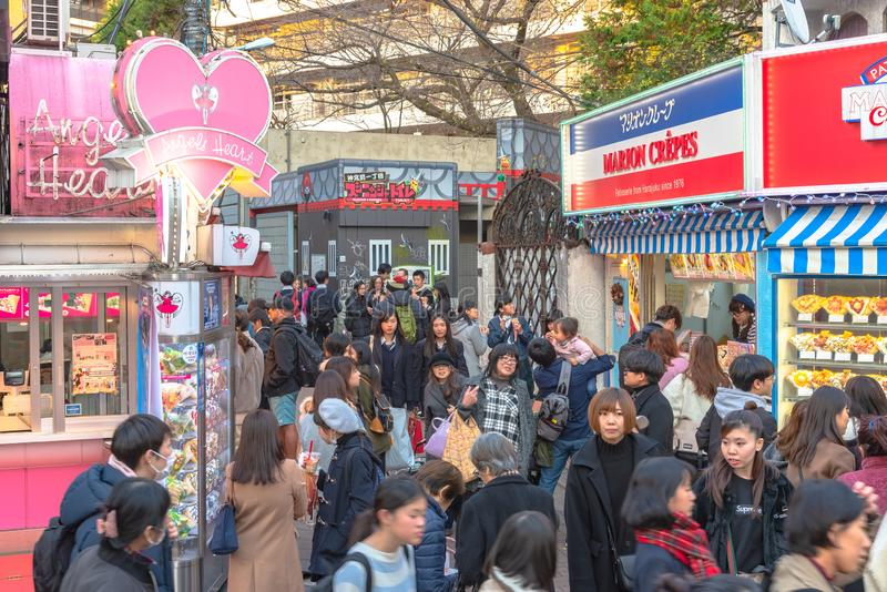 Harajuku Tokyo, Japan - 21 December 2018: Harajuku gatasikt royaltyfri bild
