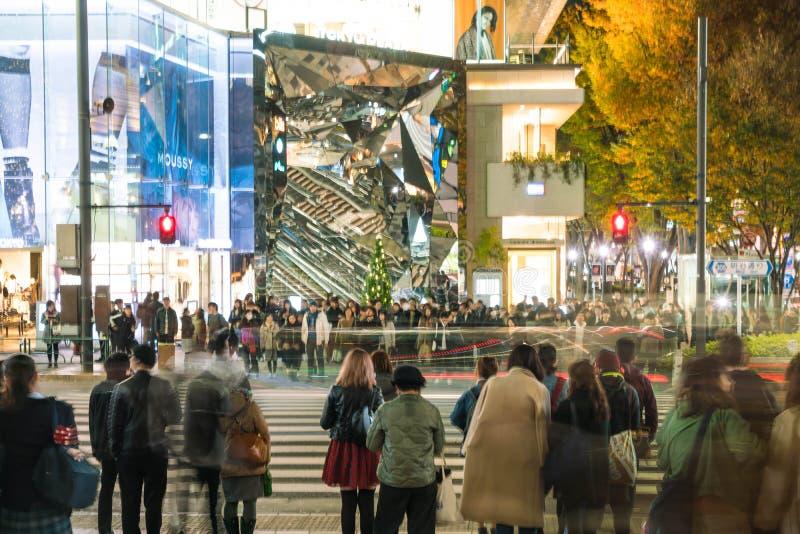 HARAJUKU, TOKYO, JAPAN - NOV 18 2015: Busy Harajuku main zebra c stock images