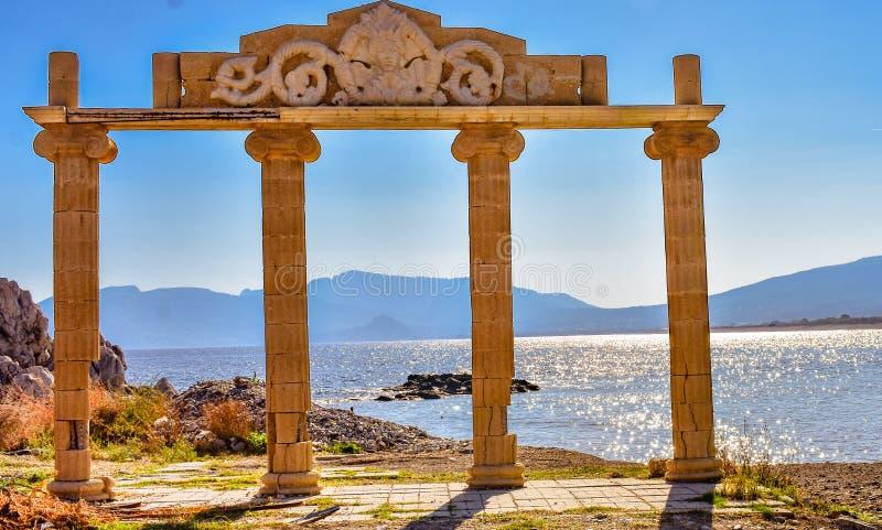 Ancient ruins in Haraki Rhodes royalty free stock image