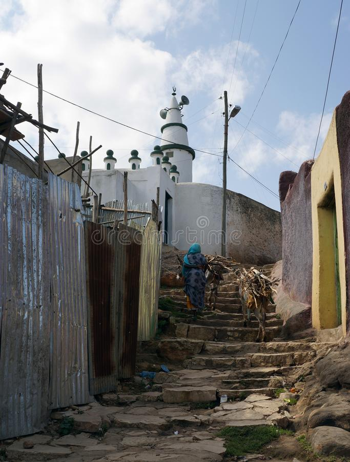 Navigating stone steps in Harar Jugol, Ethiopia stock photography