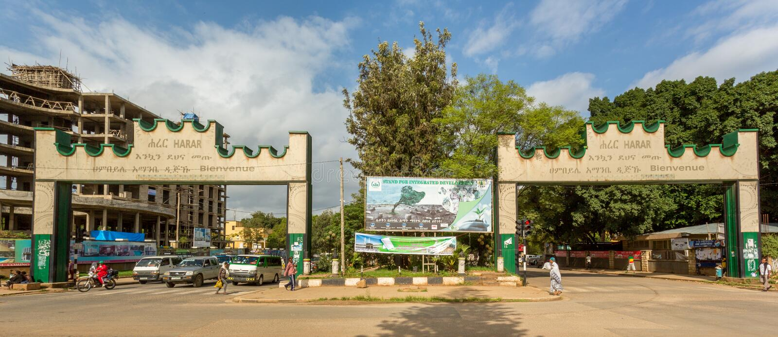 Harar Gate. HARAR, ETHIOPIA - JULY 26,2014 - Two Gates with welcoming messages are placed at the border of the city of Harar royalty free stock photos