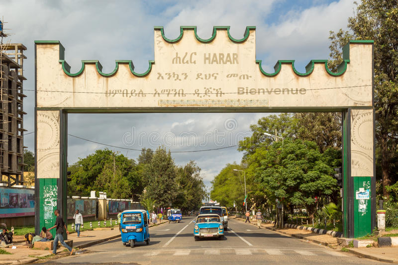 Harar Gate. HARAR, ETHIOPIA - JULY 26,2014 - A Gate with a welcoming message is placed at the border of the city of Harar stock images