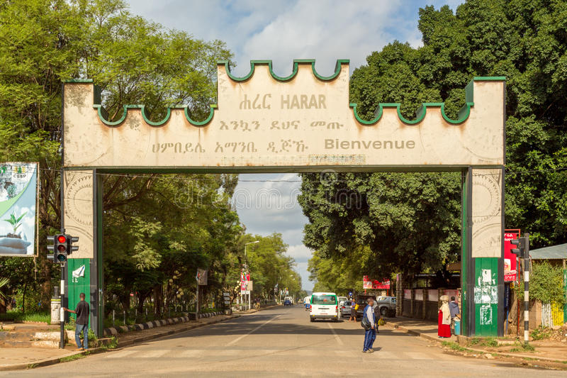 Harar Gate. HARAR, ETHIOPIA - JULY 26,2014 - A Gate with a welcoming message is placed at the border of the city of Harar royalty free stock photography