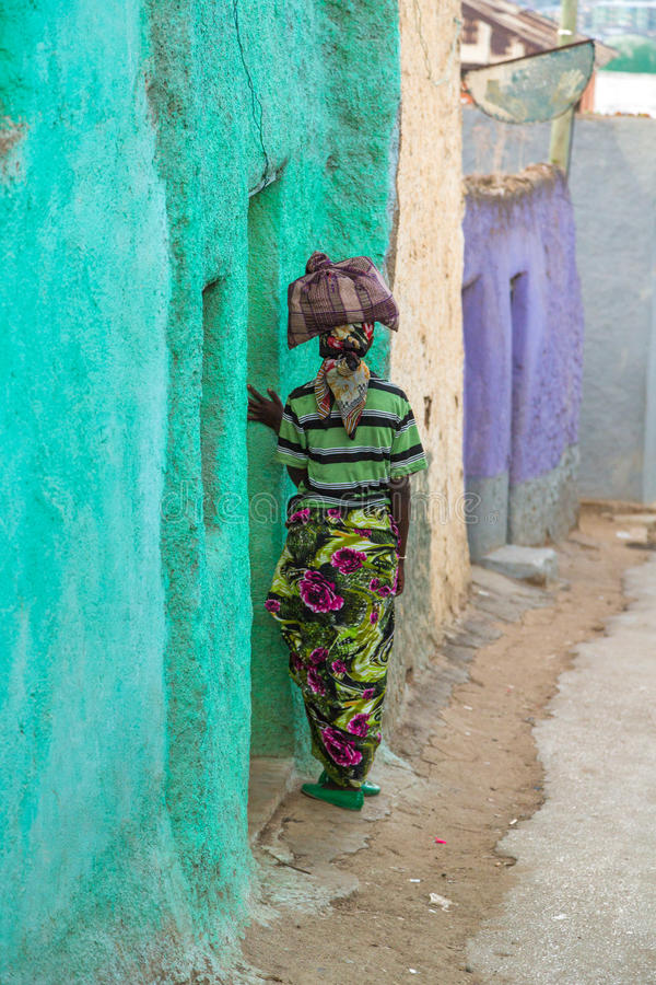 Harar Jugol. HARAR, ETHIOPIA - JULY 26,2014 - Local residents of Jugol, the fortified historic walled city within Harar, which was included in the World Heritage stock images