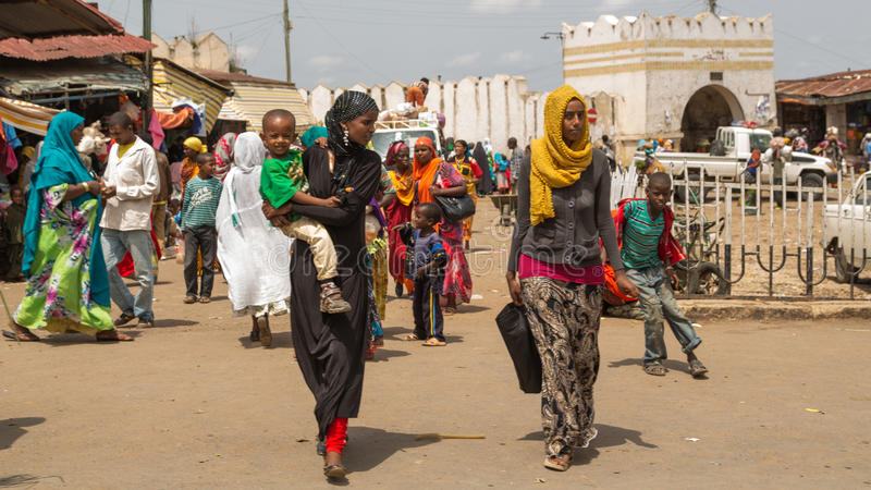 Harar Jugol. HARAR, ETHIOPIA - JULY 26,2014 - Local residents of Jugol, the fortified historic walled city within Harar, which was included in the World Heritage royalty free stock photography