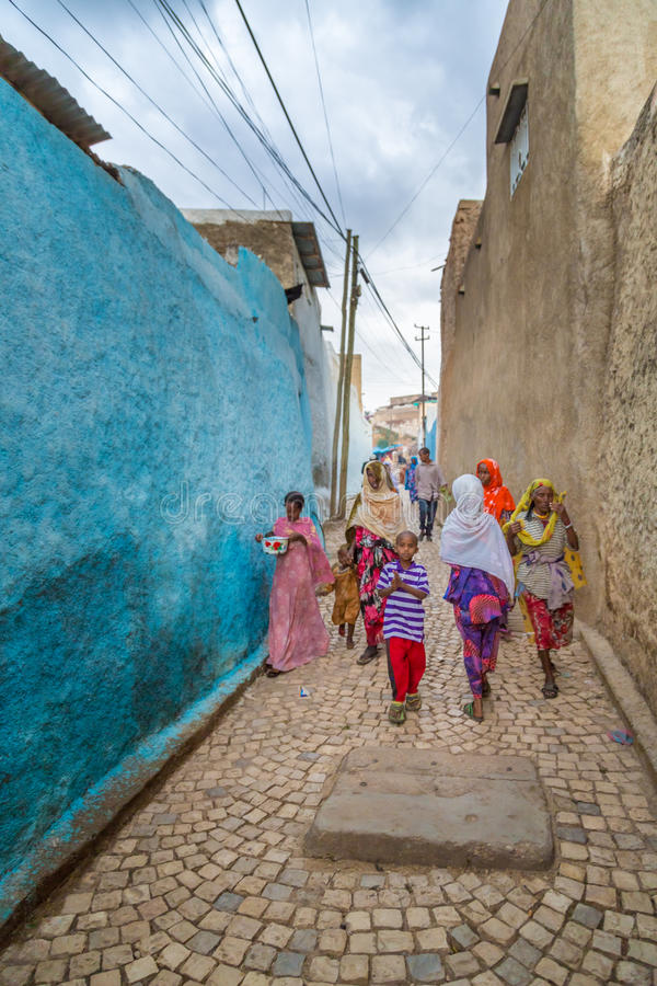 Harar Jugol. HARAR, ETHIOPIA - JULY 26,2014 - Local residents of Jugol, the fortified historic walled city within Harar, which was included in the World Heritage stock photos