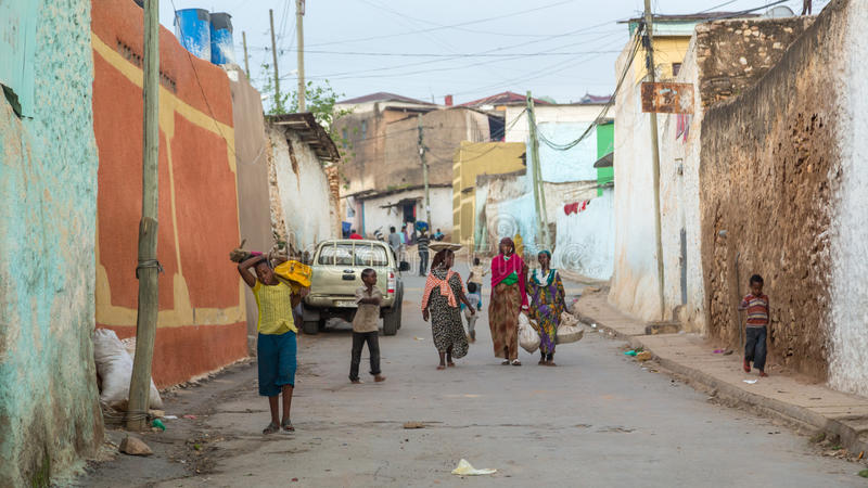 Harar Jugol. HARAR, ETHIOPIA - JULY 26,2014 - Local residents of Jugol, the fortified historic walled city within Harar, which was included in the World Heritage royalty free stock photo
