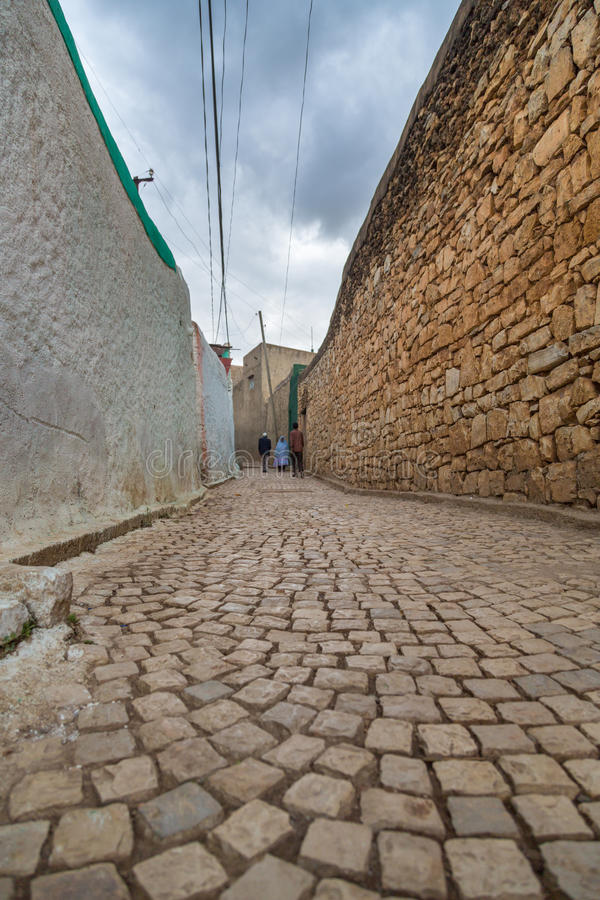 Harar Jugol. HARAR, ETHIOPIA - JULY 26,2014 - Local residents of Jugol, the fortified historic walled city within Harar, which was included in the World Heritage royalty free stock images