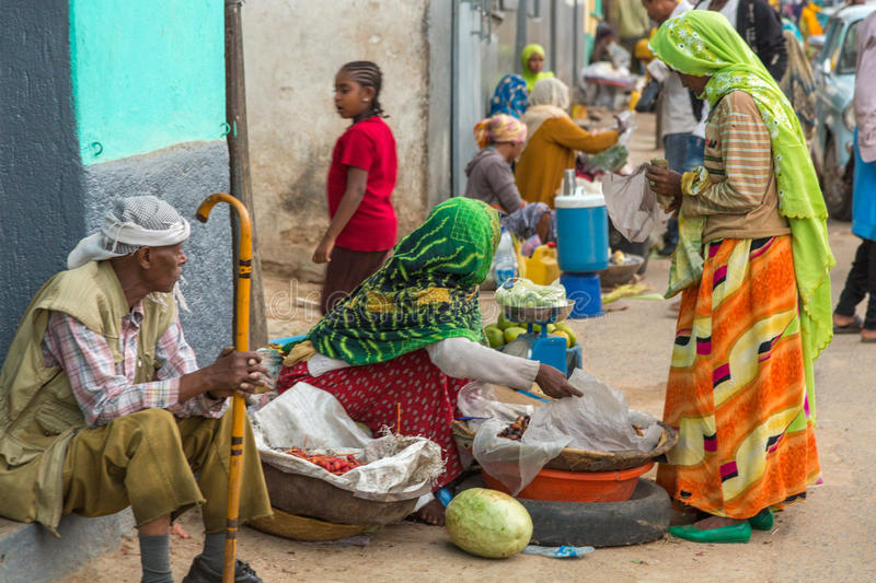 Harar Jugol. HARAR, ETHIOPIA - JULY 26,2014 - Local residents of Jugol, the fortified historic walled city within Harar, which was included in the World Heritage stock photo