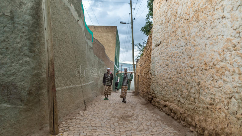 Harar Jugol. HARAR, ETHIOPIA - JULY 26,2014 - Local residents of Jugol, the fortified historic walled city within Harar, which was included in the World Heritage stock image