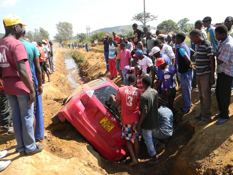 Traffic accident scene in downtown Harare stock photos