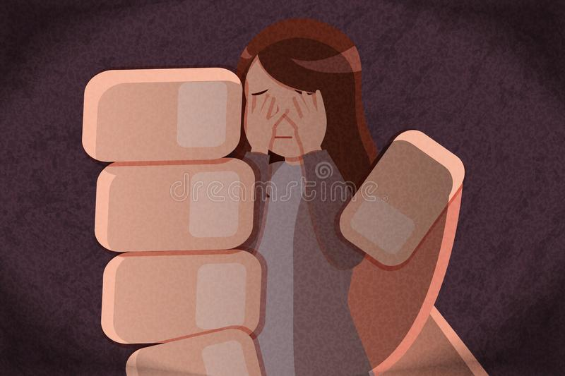 Harassment and bullying concept. Big hand grab a woman with harassment and bullying concept royalty free illustration