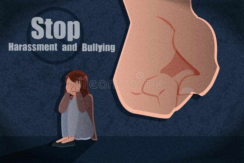Harassment and bullying concept. Woman scared and wounded from a violent man with harassment and bullying concept stock illustration