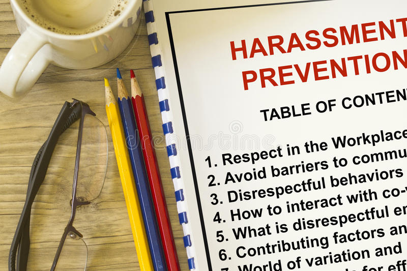 Harassment prevention seminar. With topics on the lecture cover sheet stock photo
