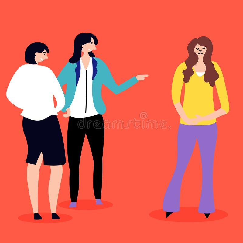 Harassment in the work team. Condemnation by colleagues. Stressful situations. Editable vector illustration stock illustration