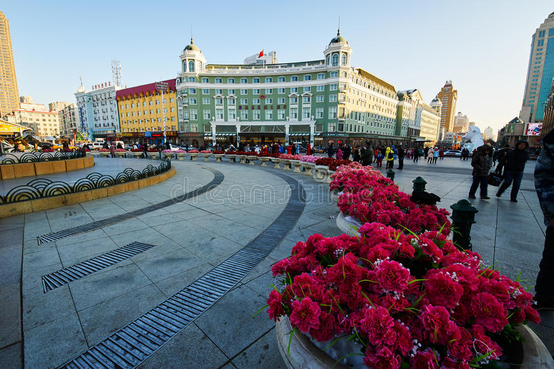 Harbin central street north square. The photo was taken in central street Harbin city Heilongjiang province,China stock photos