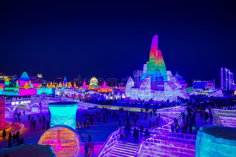 Harbin, China - February 9, 2017: Beautiful and colorful Harbin International Ice and Snow Sculpture Festival held royalty free stock photo