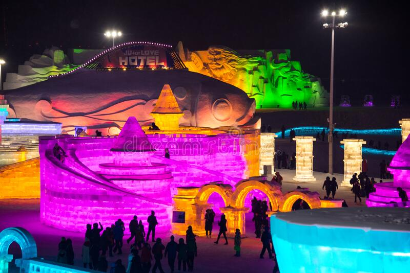 HARBIN, CHINA - JAN 21, 2017: Harbin International Ice and Snow Sculpture Festival is an annual winter festival. That takes place in Harbin. It is the world stock photo