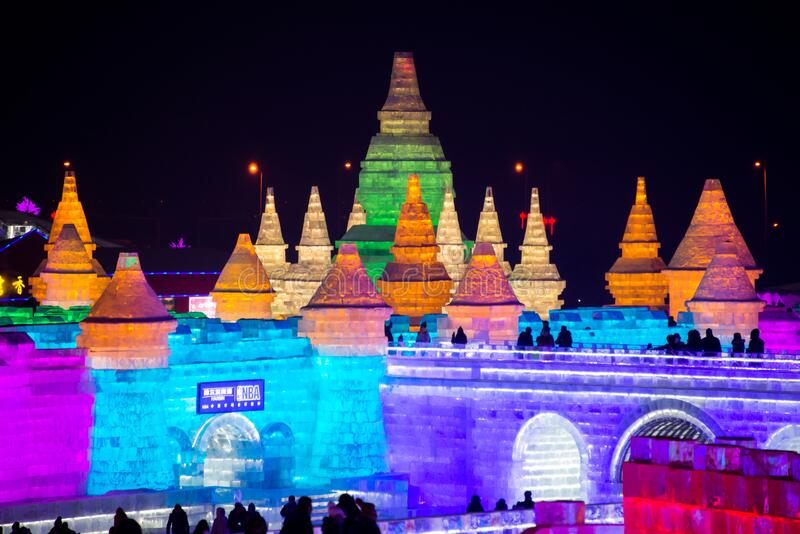HARBIN, CHINA - JAN 21, 2017: Harbin International Ice and Snow Sculpture Festival is an annual winter festival. That takes place in Harbin. It is the world royalty free stock photography