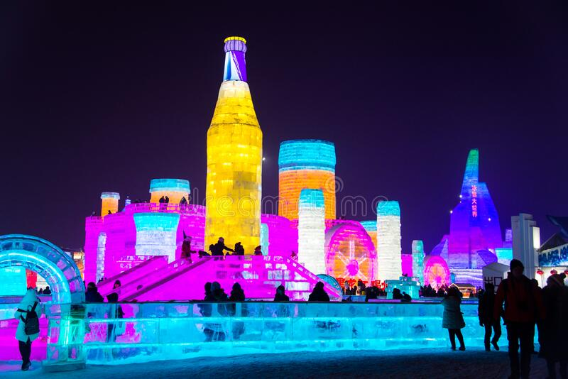 HARBIN, CHINA - JAN 21, 2017: Harbin International Ice and Snow Sculpture Festival is an annual winter festival. That takes place in Harbin. It is the world stock image