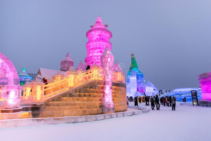 HARBIN, CHINA - JAN 21, 2017: Harbin International Ice and Snow Sculpture Festival is an annual winter festival. That takes place in Harbin. It is the world stock photography