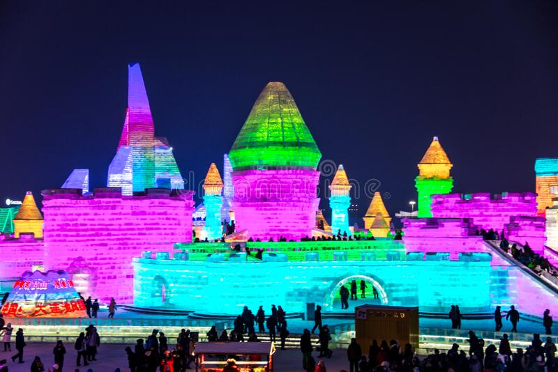 HARBIN, CHINA - JAN 21, 2017: Harbin International Ice and Snow Sculpture Festival is an annual winter festival. That takes place in Harbin. It is the world stock images