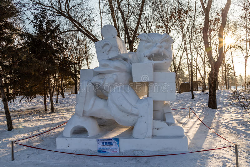 Harbin, Chine - janvier 2015 : Sculptures sur neige en 27ème Chine photographie stock libre de droits