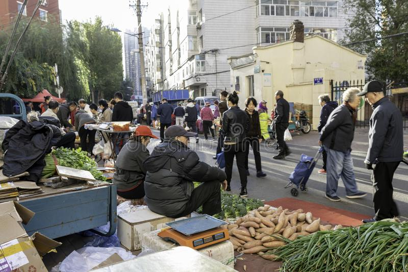 Harbin farmers market vegetables on the street royalty free stock photography