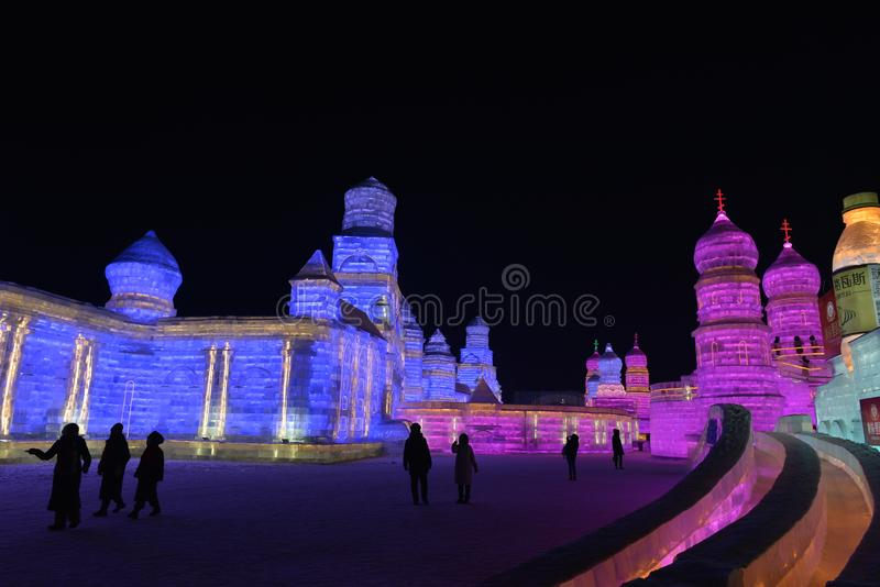 Harbin International Ice and Snow Sculpture Festival 2018. The Harbin International Ice and Snow Sculpture Festival is an annual festival that takes place in royalty free stock photography