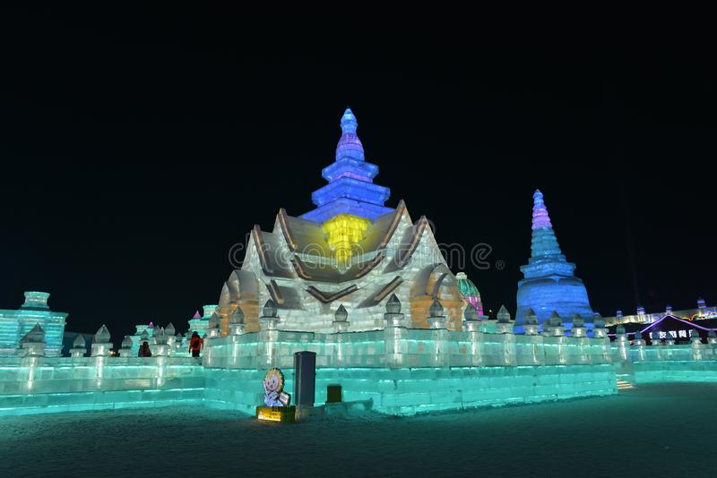 Harbin International Ice and Snow Sculpture Festival 2018. The Harbin International Ice and Snow Sculpture Festival is an annual festival that takes place in stock images